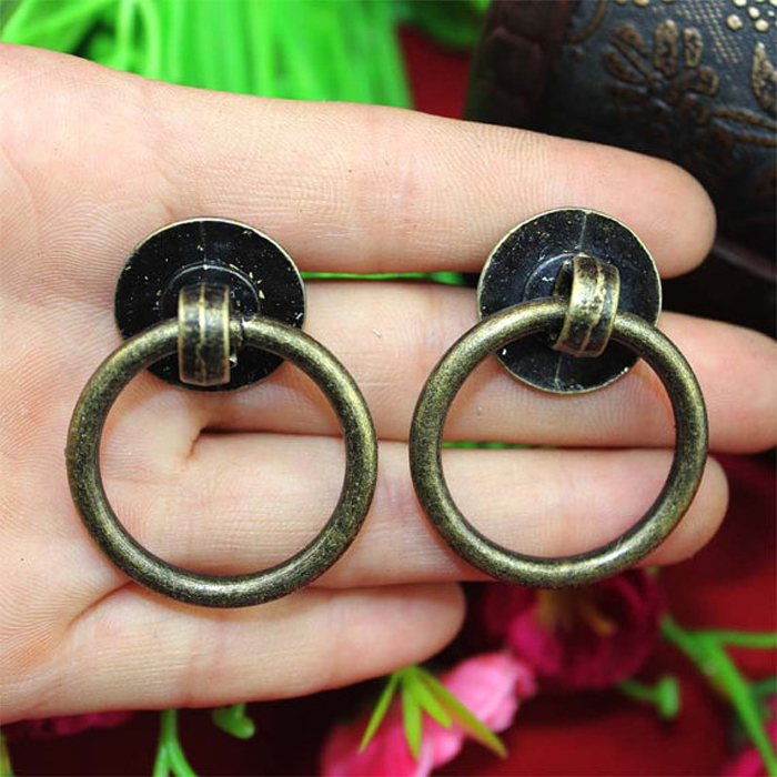 Charming 40mm * 32mm Furniture Hardware Drawer Drop Ring Pull Knob Bronze Tone  Kitchen Cabinet Dresser Cupboard Pull Handle Knob In Cabinet Pulls From  Home ...
