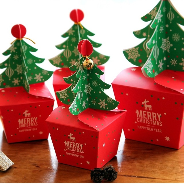 Christmas Tree Design 12pcs Candy Paper Box Gifts Chocolate Cookie