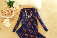 2017 Autumn Winter Women Popular Knee Length Split Tail SKirt Suits Kangaroo Print Knitted Wool Sweater
