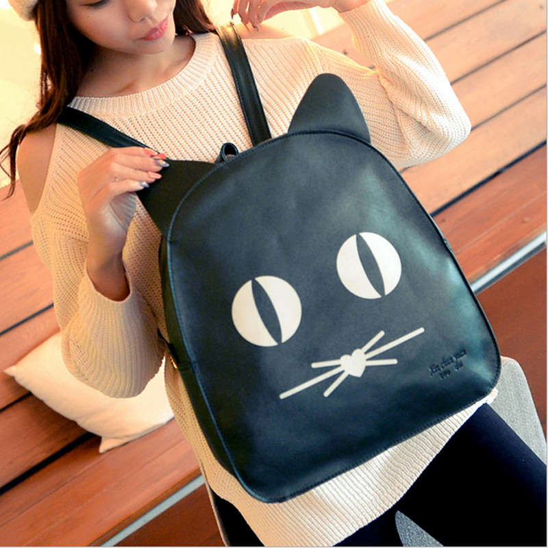 2015 Small Leather Backpack Women PU Cute Bag School Girl Black Backpack Mochilas Para Meninas Adolescentes