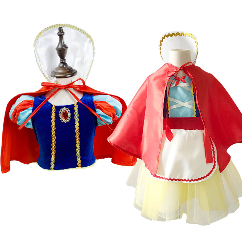 Snow White Costume Red Cape Halloween Costumes Cloak for Girls Christmas Cosplay