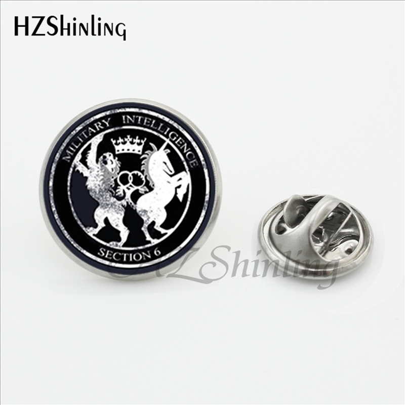 2017 New Arrived Espionage Lapel Pins Handmade Round Secret Agent Brooch Shirt Stainless Steel Collar Pin For Men Wholesale