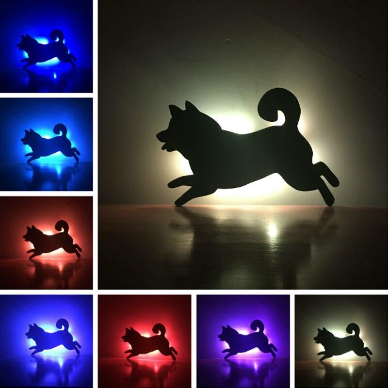 Новые стены светодиодный лампа теневой проекции собака Doggy теплое освещение Сенсор или ...