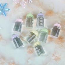 1:12 Scale Cute Clear Bottle Simulation Mini Milk Feeding Bottles DIY Dollhouse Miniature Accessories Resin Crafts