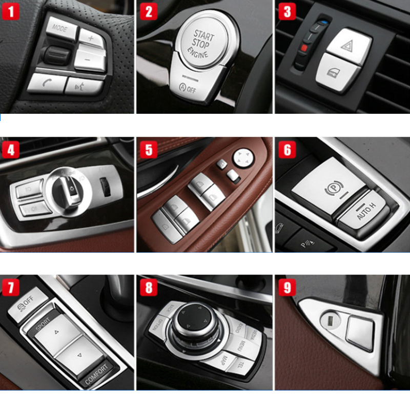 Car Interior Stickers ABS Gear Position Panel Button Cover Trim Accessories For BMW 5 Series X1 X2 X3 X4 7 Series