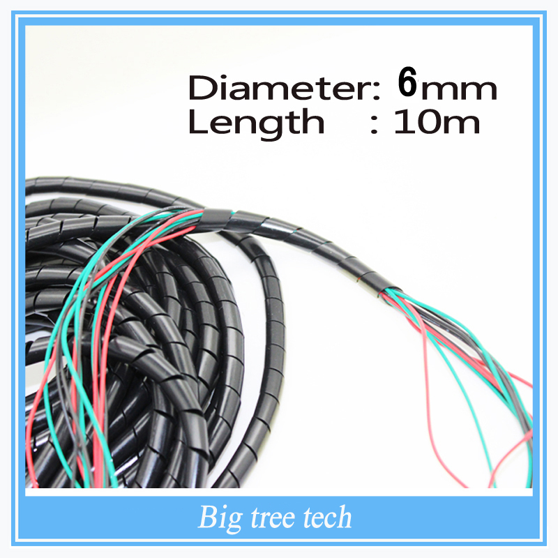 Diámetro 6 mm pies. ( 10 M ) Cable espiral Wire Wrap tubo PC administrar Cord 10