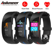 ASKMEER P3 Smart Band ECG PPG Watch Bracelet Blood Pressure Heart Rate Fitness Tracker Monitor Sport IP67 Waterproof Wristbands все цены