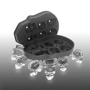 Image 1 - Skull Ice Maker Mold Bones Ball Tray Cake Candy Tools Kitchen Gadgets 4 6 Grid 3D Silicone Whiskey Ice Ball Mold