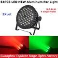 2Pcs/Lot Free Shipping Aluminum Case 54X3W Led Par Light RGBW Single Color 180W LED Par Cans For Professional Dj Stage Lighting