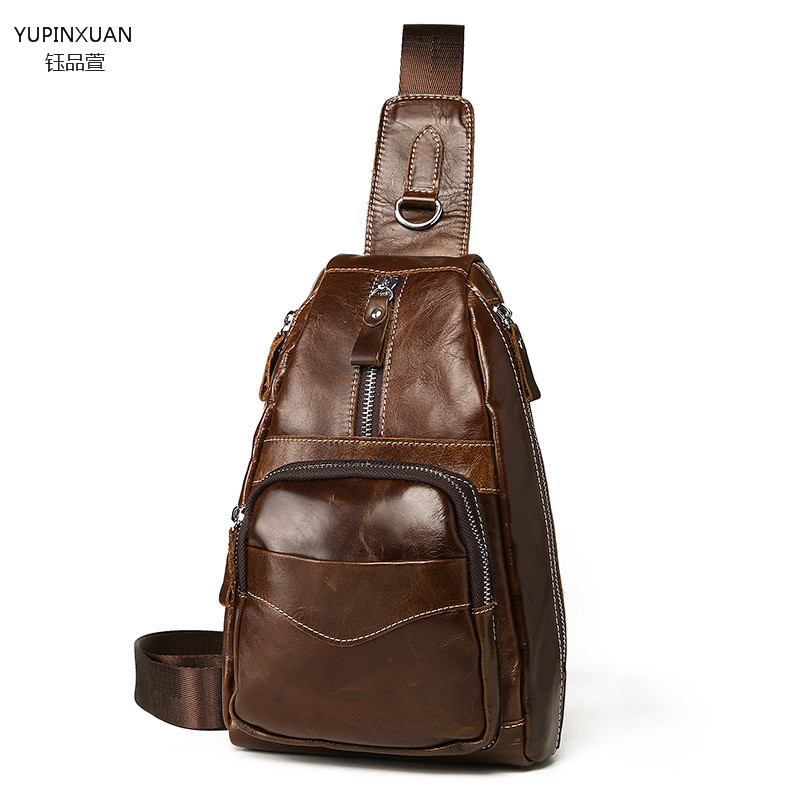 YUPINXUAN Branded Luxury Men's Chest Bag Genuine Leather Shoulder Bags Designer Cowhide Crossbody Bags Chest Pack Messenger Bags купить