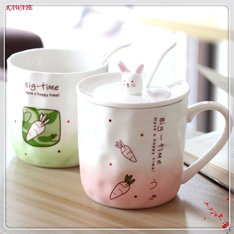 1set Coffee Mug Gradient Color Cartoon Ceramic Cup Gift For Girls Cute Rabbit Creative Porcelain Tea Cup Office Supplies 6ZDZ254