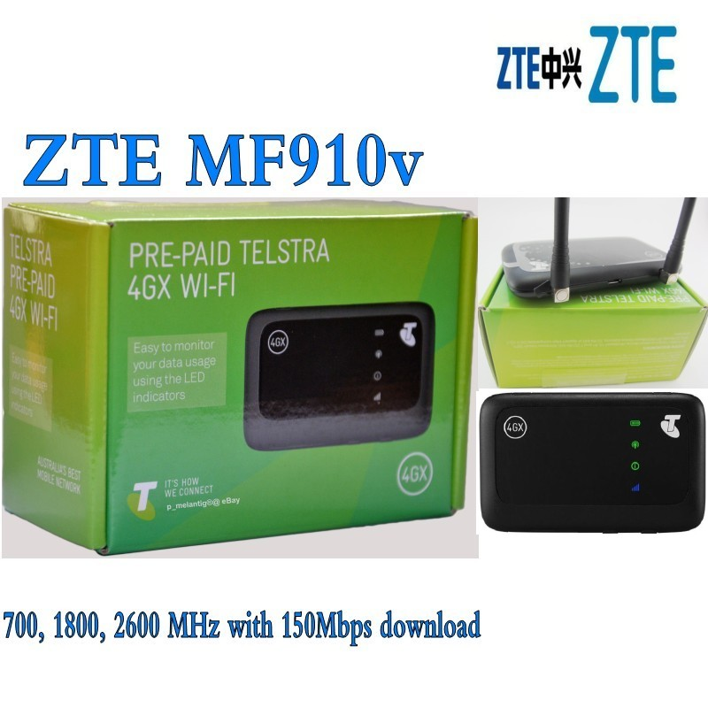 ZTE MF910V 4G LTE Mobile WiFi Wireless Pocket Hotspot Router Modem plus 2pcs antenna