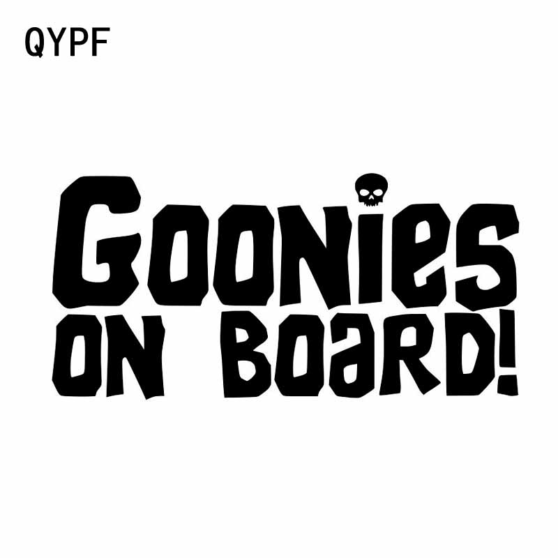 QYPF 15.2CM*7.3CM GOONIES ON BOARD Personality Car Sticker Vinyl Decal Black/Sliver C14-0045
