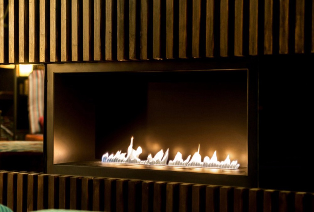 On Sale  30 Inch Remote Control Intelligent Silver Ethanol Fireplace Electric