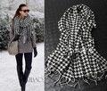 Hot Venda Nova moda quente para a mulher o eterno xadrez cachecol de lã Pashmina longo Inverno cachecóis xale Espanha