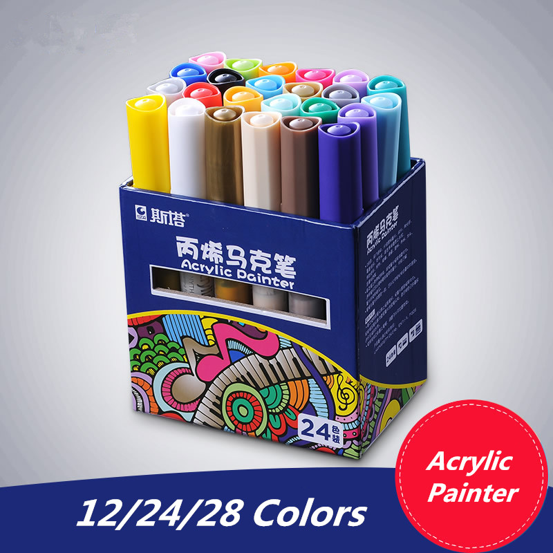 Us 12 59 31 Off 12 24 Color Waterproof Acrylic Paint Marker Pen Watercolor Acrylic Paint For Fabric Glass Ceramic Graffiti Art Painting Drawing In