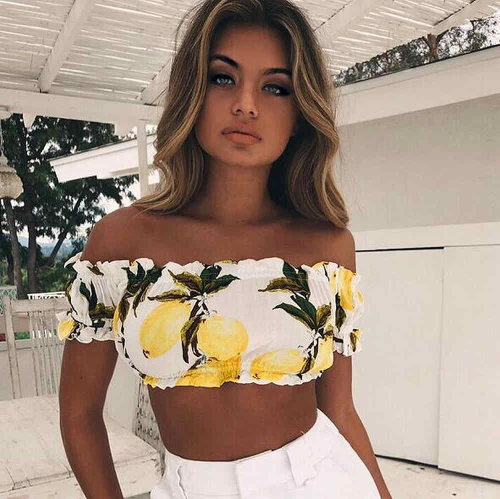 Women Sexy Tank Top Female Hot New Lemon Print Short-Sleeved Beach Resort Wrapped Chest Small Tanks Camisoles Short Shirt Tee
