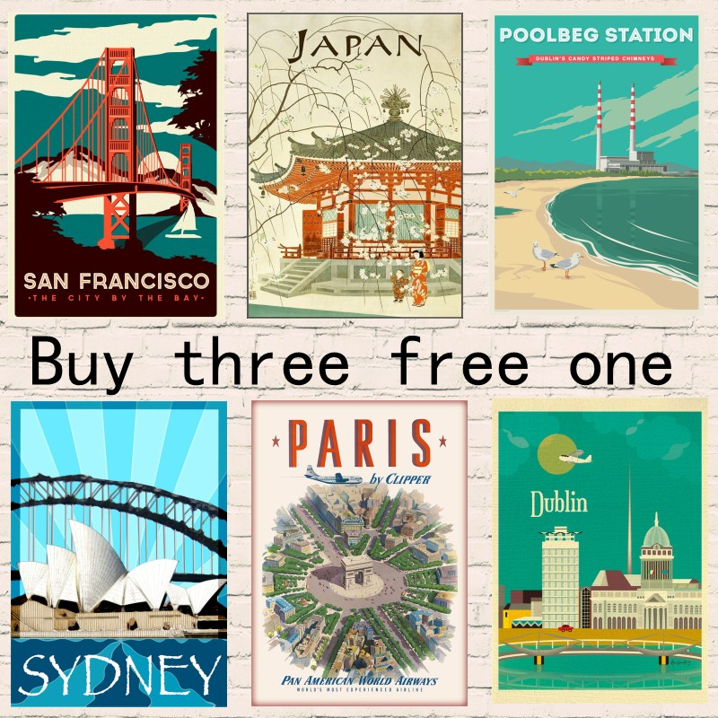 Hawaii/ Japan/ Paris/Sydney Travel Poster Vintage Retro Canvas Painting DIY Wall Coated Paper Posters Home Gift Decoration