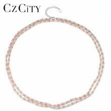 CZCITY – collier de perles multicolores en argent Sterling 925 pour femmes, breloque Double pont, Long, chaîne à maillons, bijoux