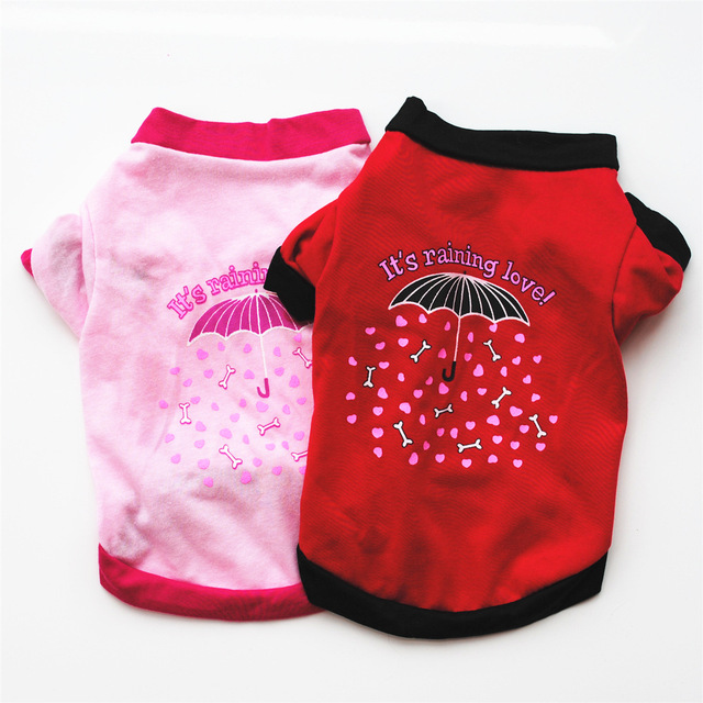 Одежда для собак и щенков весна-осень красный/розовый зонтик с принтом удобный жилет для Собаки Футболка для маленькой собаки оптовая продажа