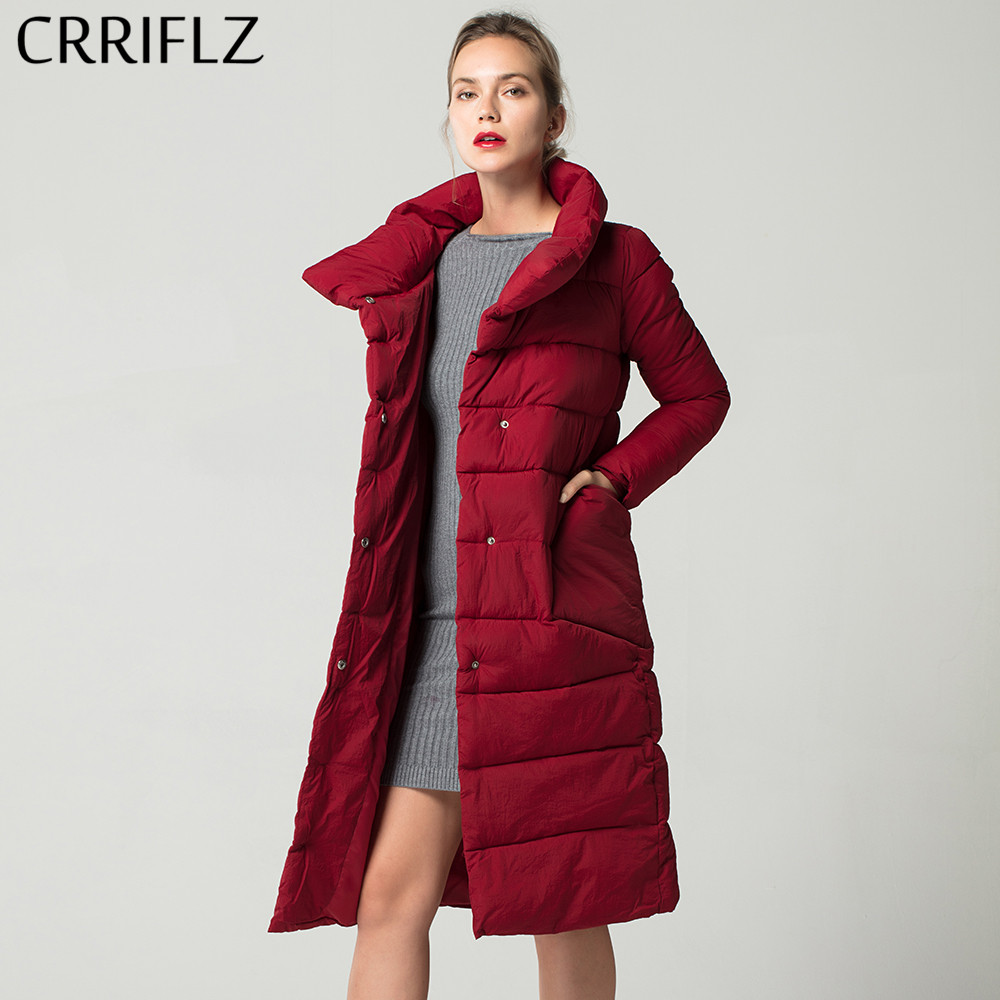 Fashionable Autum Winter Stand Collar Thin   Parkas   Long Women Solid Jacket Warm Winter Jacket Women CRRIFLZ New Winter Collection