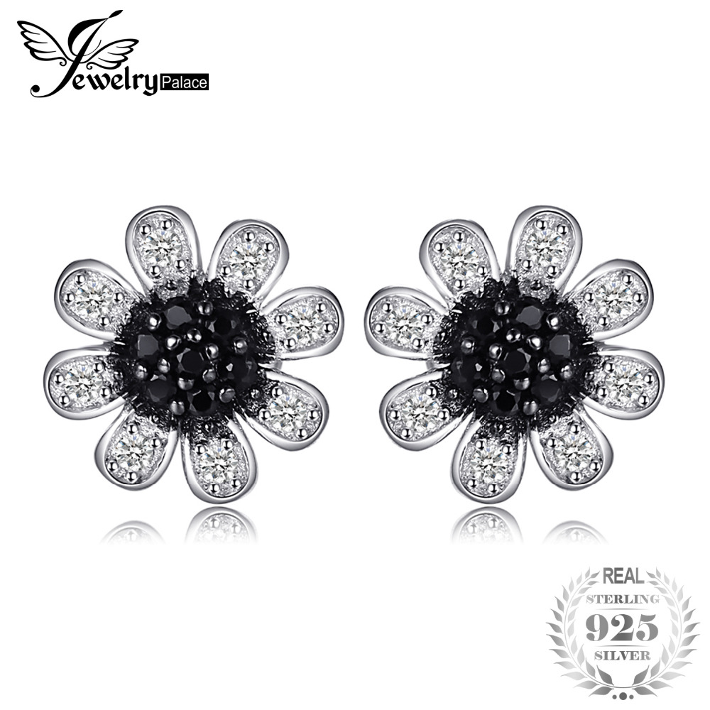 JewelryPalace Blume Schwarz Spinell Ohrstecker Echtes 925 Sterling Silber Trendy Ohrringe Für Frauen Marke Schmuck Zubehör