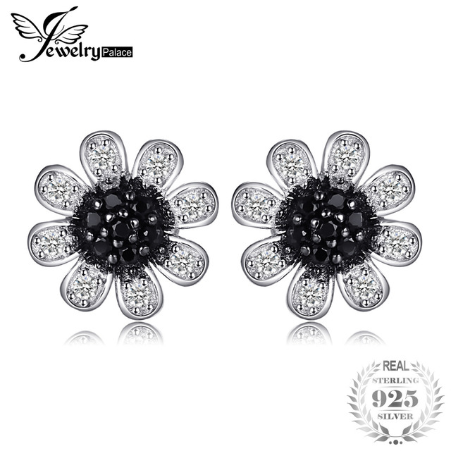 Jewelrypalace Flower Black Spinel Stud Earrings Genuine 925 Sterling Silver Trendy For Women Brand Jewelry