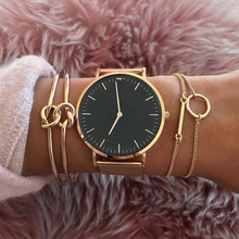 Cuteeco 3 Pcs/ Set Fashion Knot Round Metal Chain Multilayer Adjustable Open Bracelet Women Party Jewelry Gift