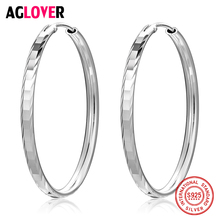 AGLOVER Silver 925 Jewelry Sterling Classic Luxury Trendy Rhombus Circle Charm 37mm Hoop Earrings For Women Gift
