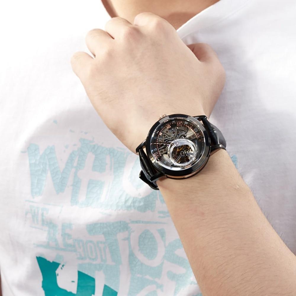 OBLVLO Designer squelette montres pour hommes mode noir acier automatique montres en cuir véritable bande montres analogiques VM 1 - 2