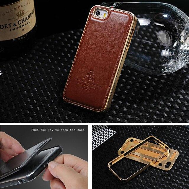 imágenes para FINEDAY Original Genuino Cuero Contraportada Con el Metal de Aluminio De Alta Calidad del Caso Del capítulo para Apple iPhone 5 5S SÍ Bolsa de Piel accesorios