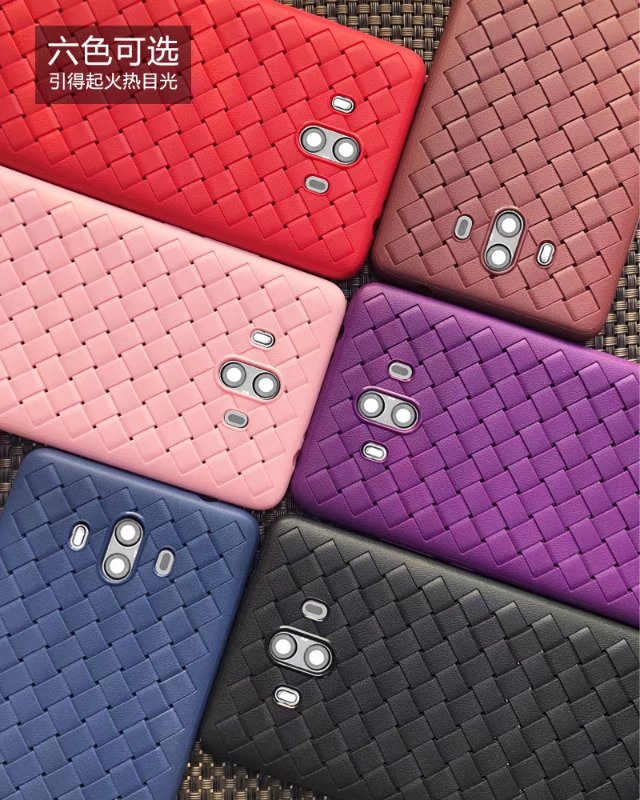 Hot 6 Solid color Black red brown pink blue purple Diamond Weaving checkered texture soft tpu case for huawei mate 10