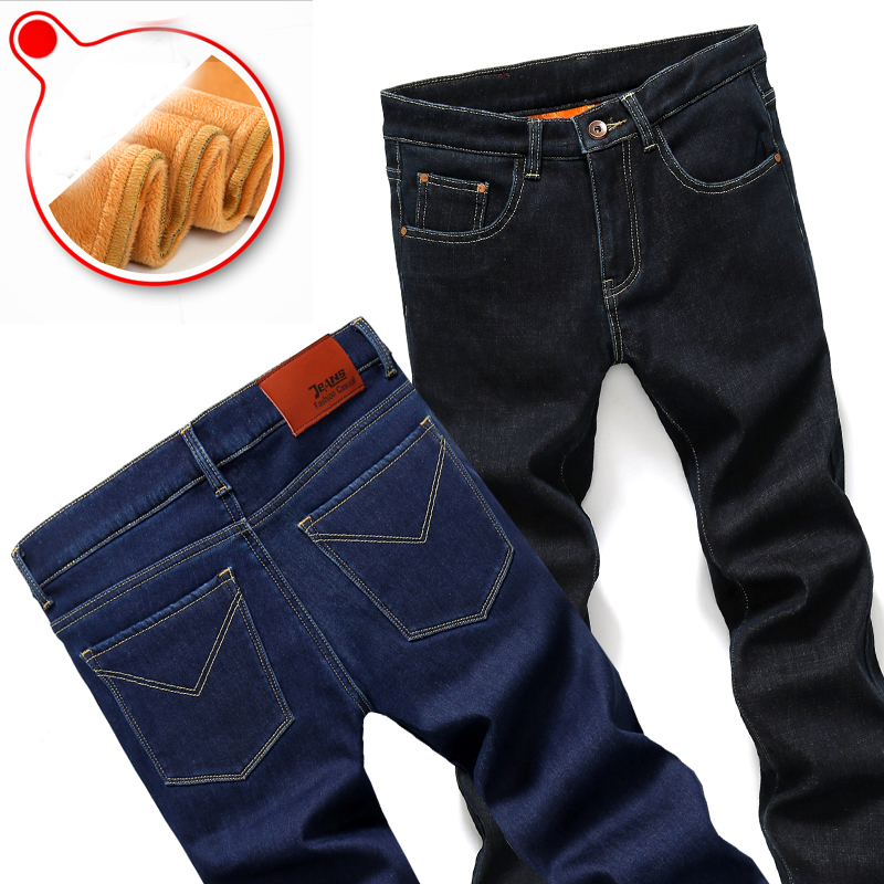 Brand Mens Winter  Thicken Jeans Warm Fleece High Quality Denim Biker Jean Pants Trousers Size 28-40Hot Sale men jeans 2017 autumn winter mens denim jean blue cotton pants men denim trousers slim fit jeans male plus size high quality