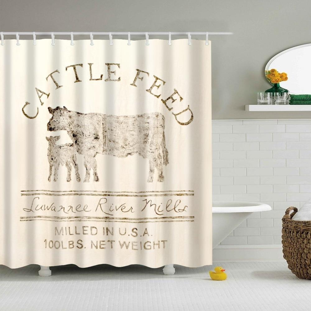 printed cattle feed Bath Shower Curtain Home decor bathroom Accessories Personalized Printing bathroom curtain