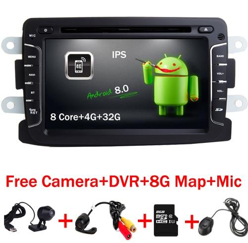 7 pouce Android 8.0 Lecteur DVD de Voiture Pour Dacia Sandero Duster Renault Captur Lada Xray 2 Logan 4 GB RAM 4G WIFI GPS Navigation Radio