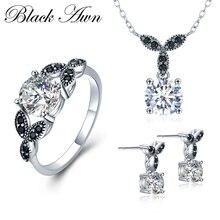 [Черный AWN] 925 пробы серебряные Ювелирные наборы, круглые наборы для помолвки, ожерелье+ серьги+ кольцо для женщин PTR035