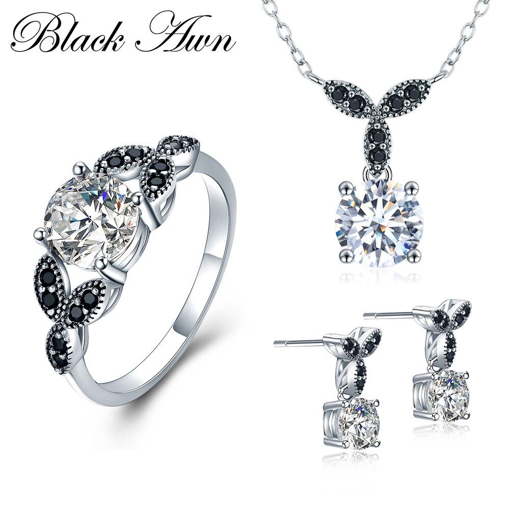 [Черный AWN] 925 пробы серебро ювелирные украшения наборы круглый обручение цепочки и ожерелья + серьги кольцо для женщин PTR035