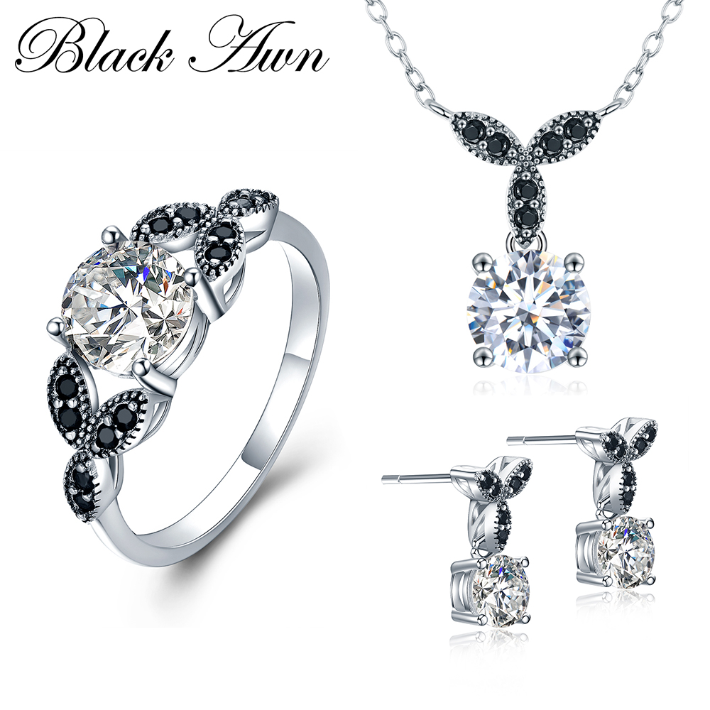 [BLACK AWN] 925 Sterling Silver Fine Jewelry Sets Round Engagement Sets Necklace+Earring+Ring for Women PTR035