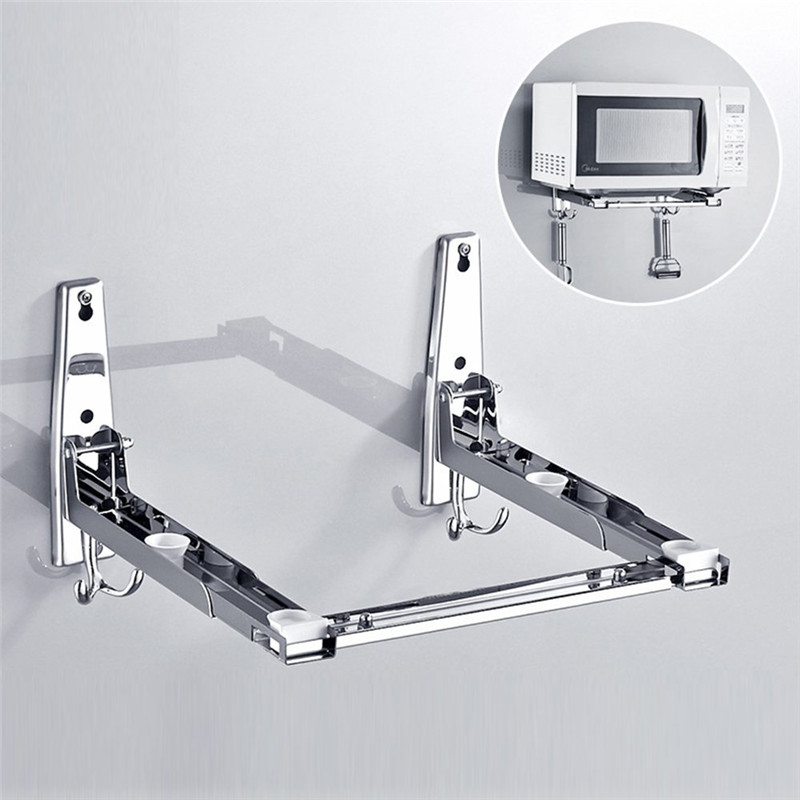 Stainless Steel Microwave Oven Shelf Wall-mounted Kitchen Rack Retractable Bracket