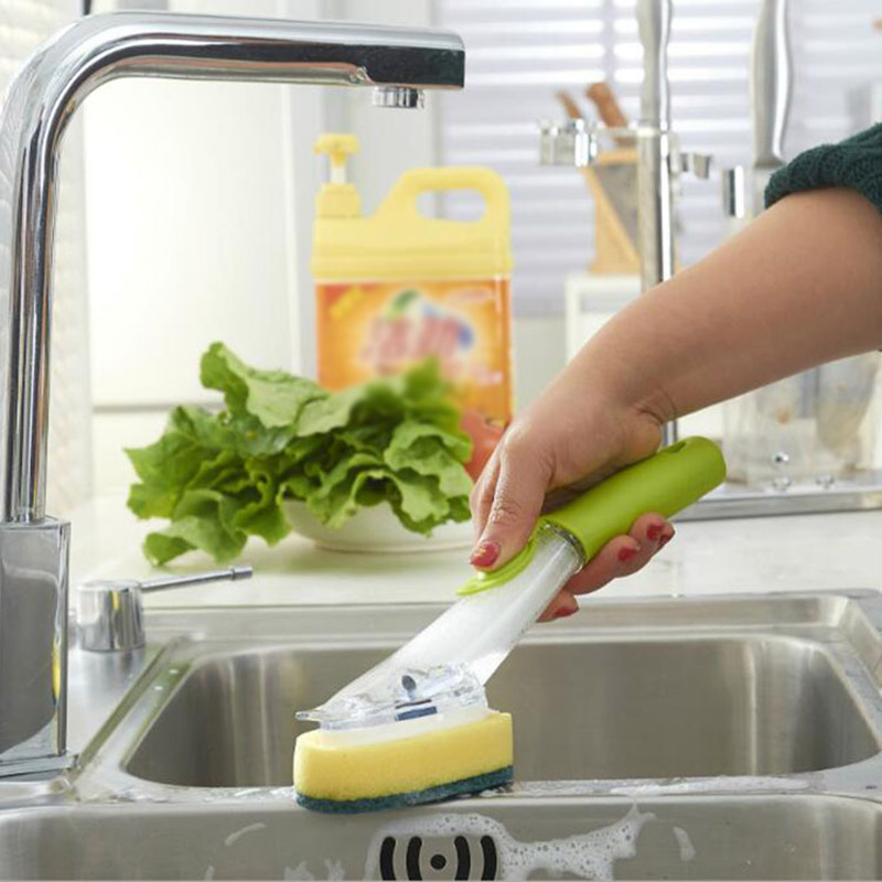 Hot New Cute Cleaning Brushes Kitchen Duster Wipes Pot Bowl Dish With Replaceable Sponge Home Clean Tool Accessories LXY9 DE20