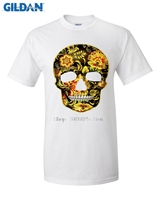 GILDAN Flower Skull Tshirt Women Harajuku Punk Cotton Short Sleeve T Shirt Tops Hip Hop Brand