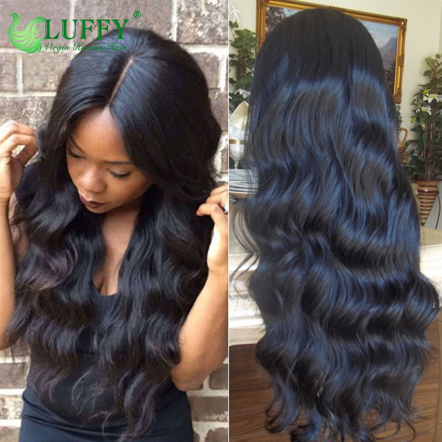 Luffy Hair 4x4 Silk Top Full Lace Human Hair Wigs With Baby Hair Body Wave Virgin Brazilian Silk Base Lace Front Human Hair Wigs