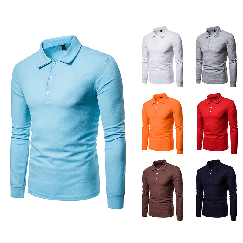 Autumn Winter Men's Clothes Simple Long Sleeve   Polo   Shirt Men Solid Color Lapel White Full Tops Hot Selling Leisure Paul Men