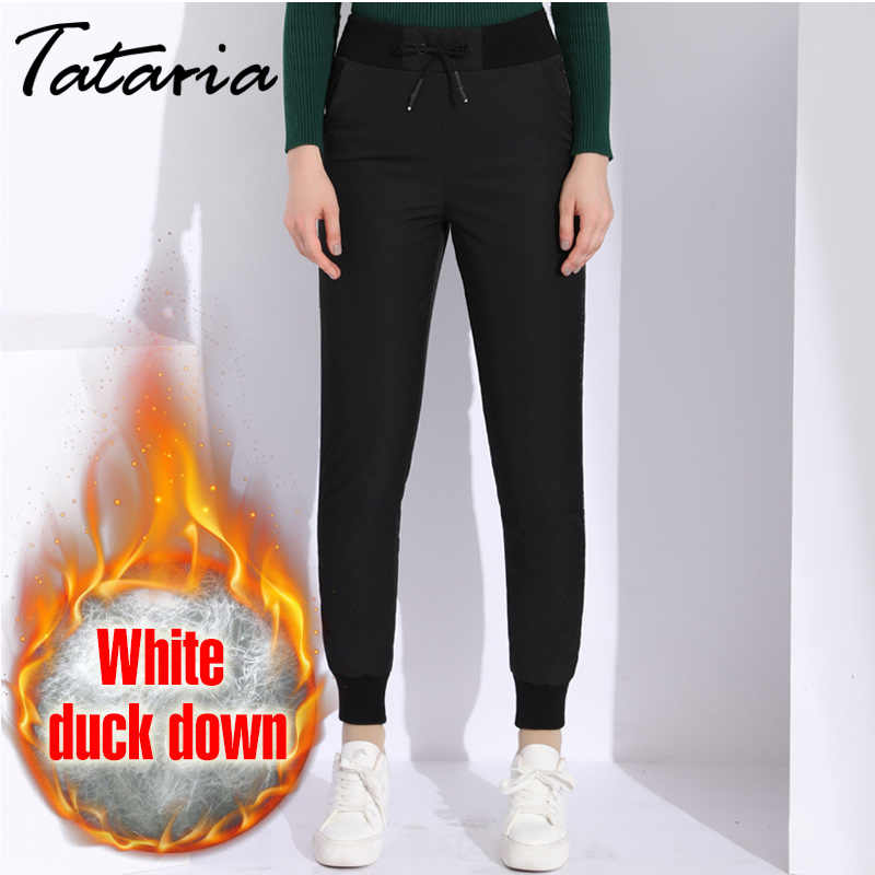 2255a5b3feb6f Winter Duck Down High Waisted Pants Women Classic Causal Warm Velvet Pants  Women s Plus Size Elastic