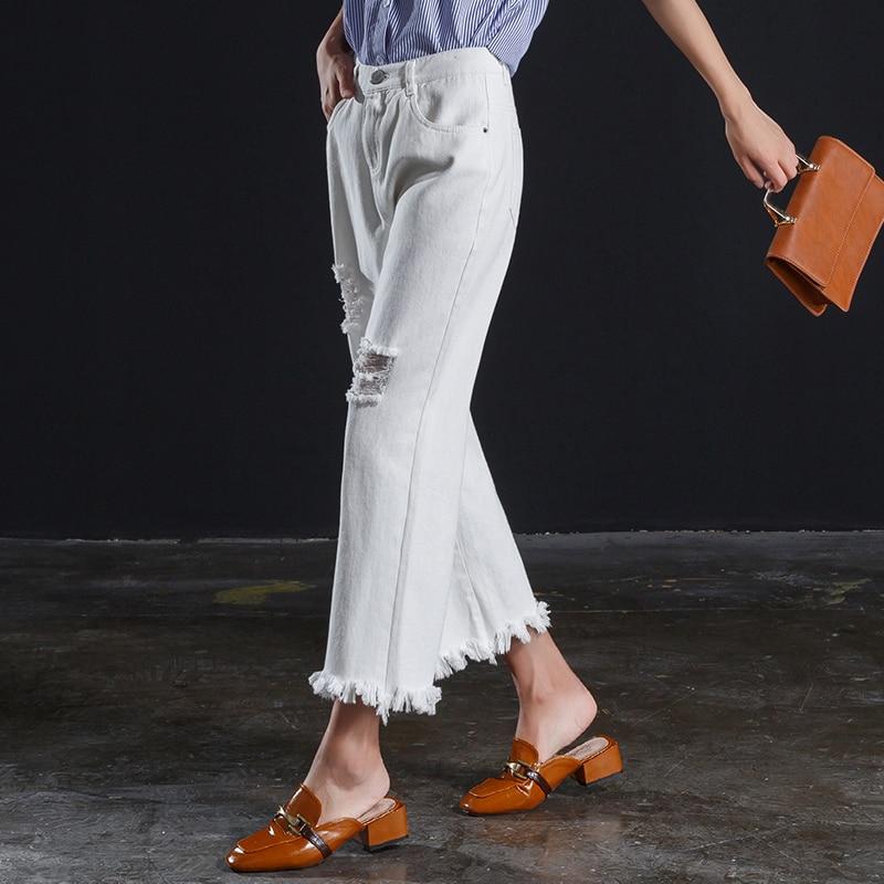 full white women ankle length jeans wide leg pants for spring summer in Jeans from Women 39 s Clothing