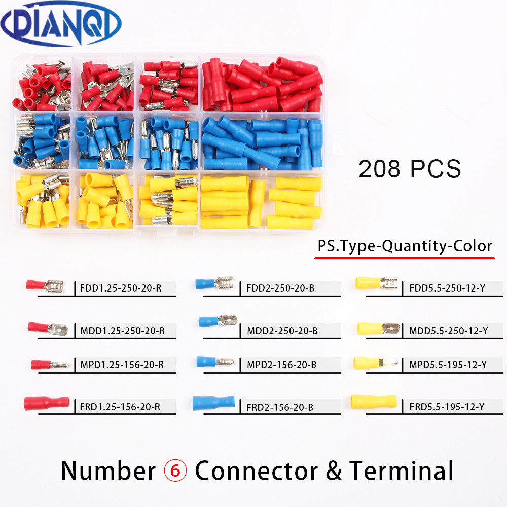 Promo 208Pcs/Set MDD FDD MPD FRD Female/Male Insulated Electrical ...