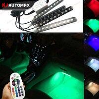4pcs DC12V Car RGB LED DRL Strip Light 36SMD Car Auto Remote Control Decorative Flexible LED