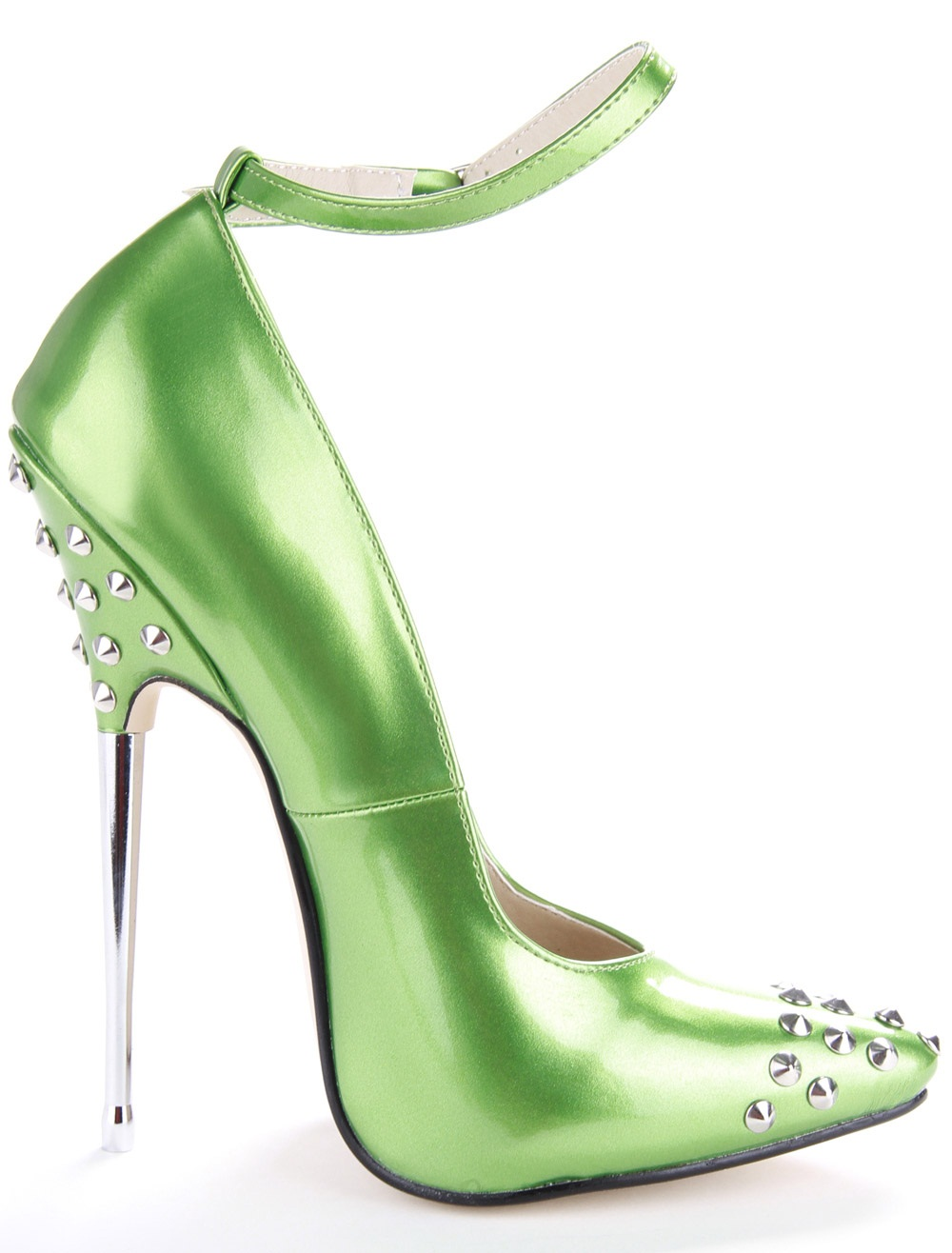 newest sexy pumps green blue black Patent leather metal 16 cm super high heels pumps size 45 rivet pointed toe mary janes shoes