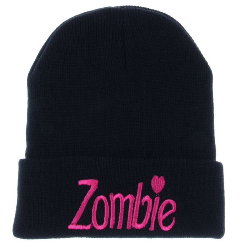 Wholesale & Retail 2016 Fall Fashion For Women ZOMBIE Beanie  Winter Knitted Toucas Hats For Girls Acrylic Solid BlackGorros