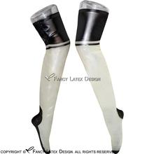 Transparent With Black Sexy Long Latex Seamed Stockings With